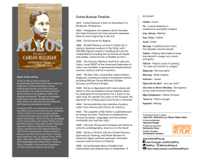 Screen shot of the 1-page Carlos Bulosan Timeline and Tagalog Glossary.