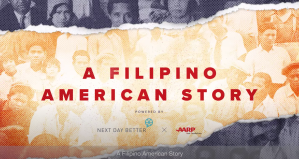 faded photo background with a rip/tear in the middle with red text A FILIPINO AMERICAN STORY