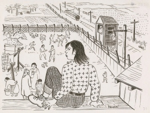 hand drawing on white background: a young woman in the foreground with straight, shoulder length black hair, wearing a long sleeve top with cross pattern and dark pants, sitting on a rooftop, looking at various people doing different activities inside a fenced courtyard with a train passing by and a man in a watchtower. The people in the courtyard are playing sports, doing laundry, conversing with each other, and watching each other. In the background are open fields and farms.