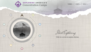 """Screengrab of the Japanese American National Museum website for """"Exploring America's Concentration Camps."""" Image of a torn paper background with faded photos of a site where Japanese Americans were incarcerated, with a graphic of a compass and in script-like lettering, """"Start Exploring."""""""